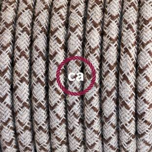 Round Electric Cable covered by Rayon fabric ZigZag RZ15 Orange