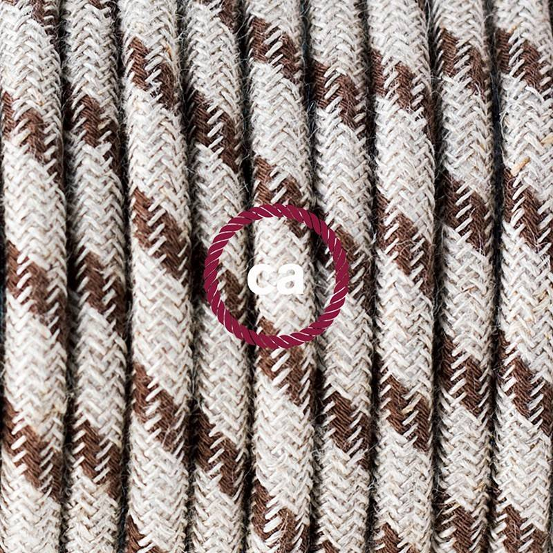 Round Electric Cable covered by Rayon fabric ZigZag RZ09 Red