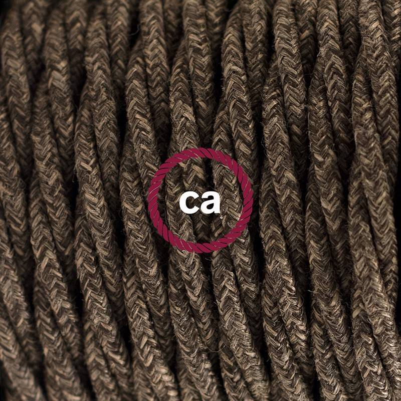 Round Electric Cable covered by Natural Linen RN01 Neutral