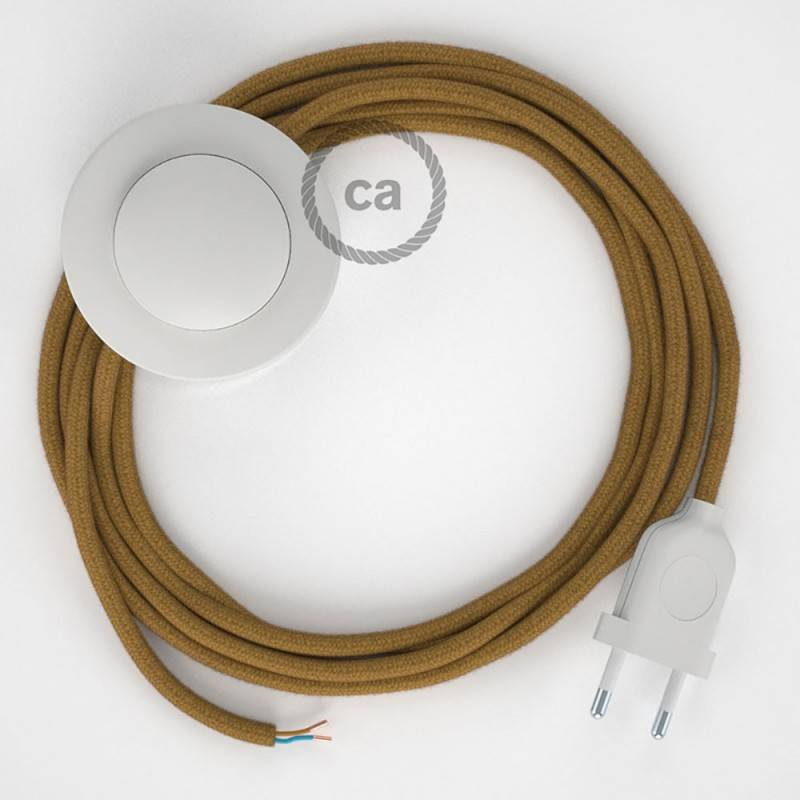 Twisted Electric Cable covered by Cotton solid color fabric TC53 Ocean