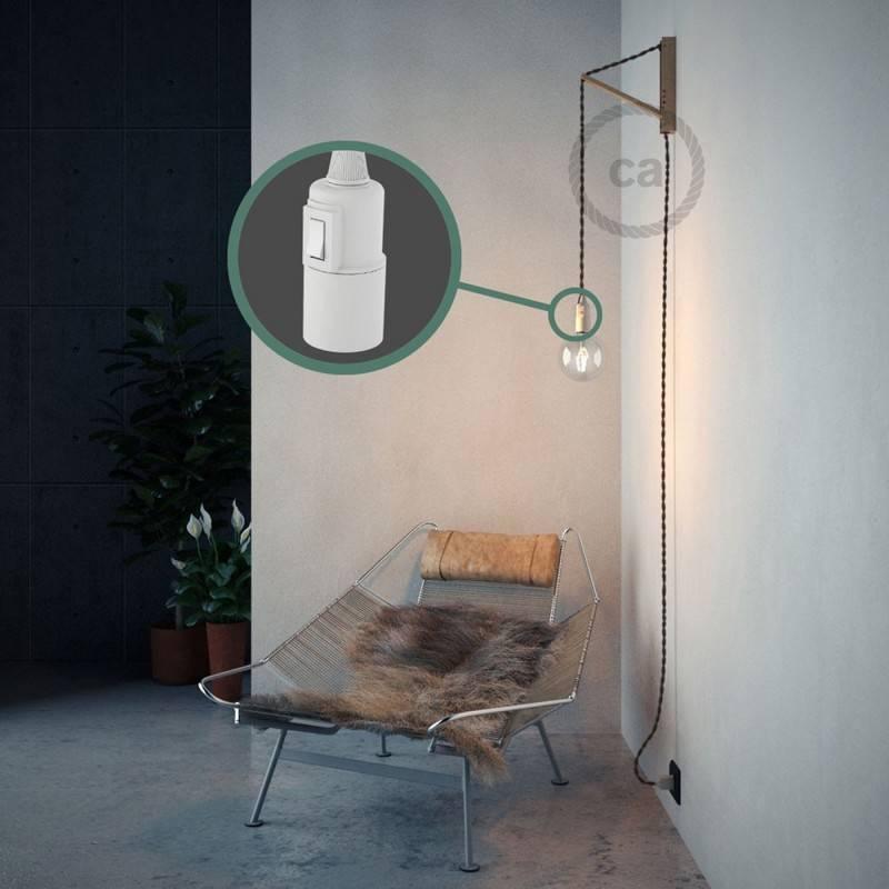 E14 threaded lamp holder, 2 ferrules, in white painted bakelite