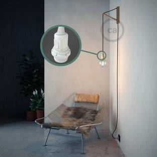 Porcelain Pendant, suspended lamp with Opal Rayon textile cable RH69