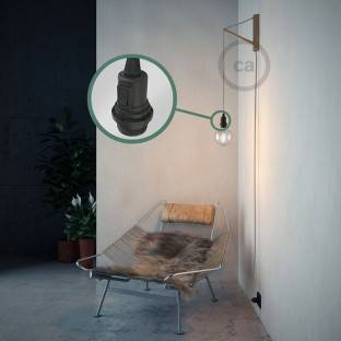 Pendant lamp with Diamond cage - brass finish with RM04 Black Rayon cable
