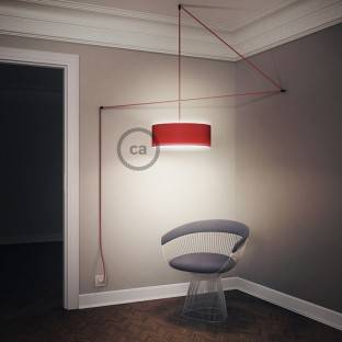 Pendant lamp with Diamond cage - white with RC32 Burgundy Cotton cable