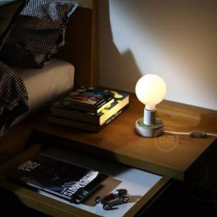 Metal Duedi Apex lampshade - Black with wooden lamp holder cover and E27 lamp holder