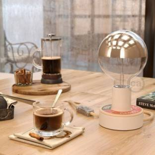 Metal Duedi Apex lampshade - White with wooden lamp holder cover and E27 lamp holder