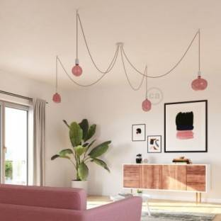 Pale pink Dome Lampshade in polyester fibre - 100% handmade